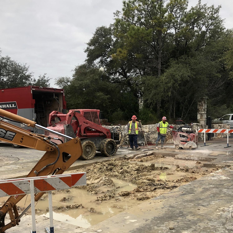 Plumbers Repairing Slab Leak in Austin